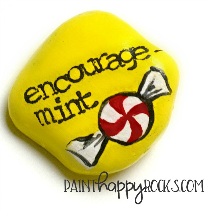 Rock Painting Ideas | Encourage-Mint Painted Stones at painthappyrocks.com #PaintHappy #PaintHappyRocks #PaintedStones #RockPainting #KindnessRocks