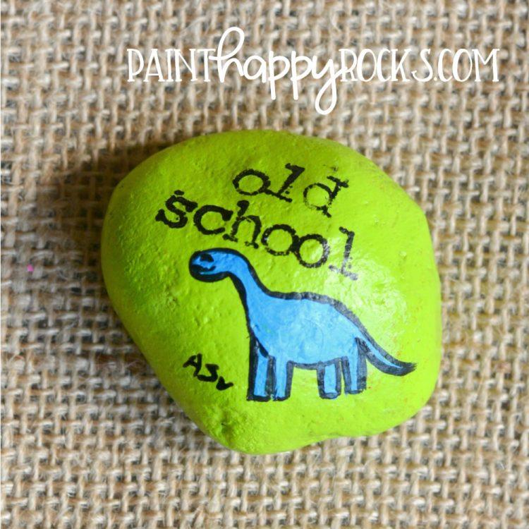 Easy Rock Painting Ideas | Old School Dinosaur