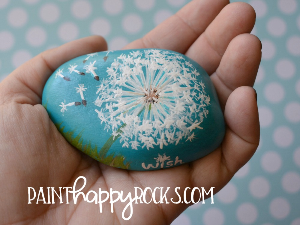 Craft Lightning Dandelion Wish Painted Rock at painthappyrocks.com
